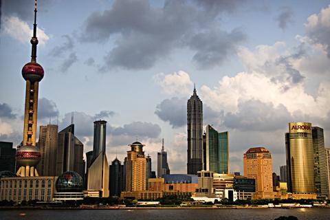 Вид на деловой район Пудун, Шанхайская телебашня