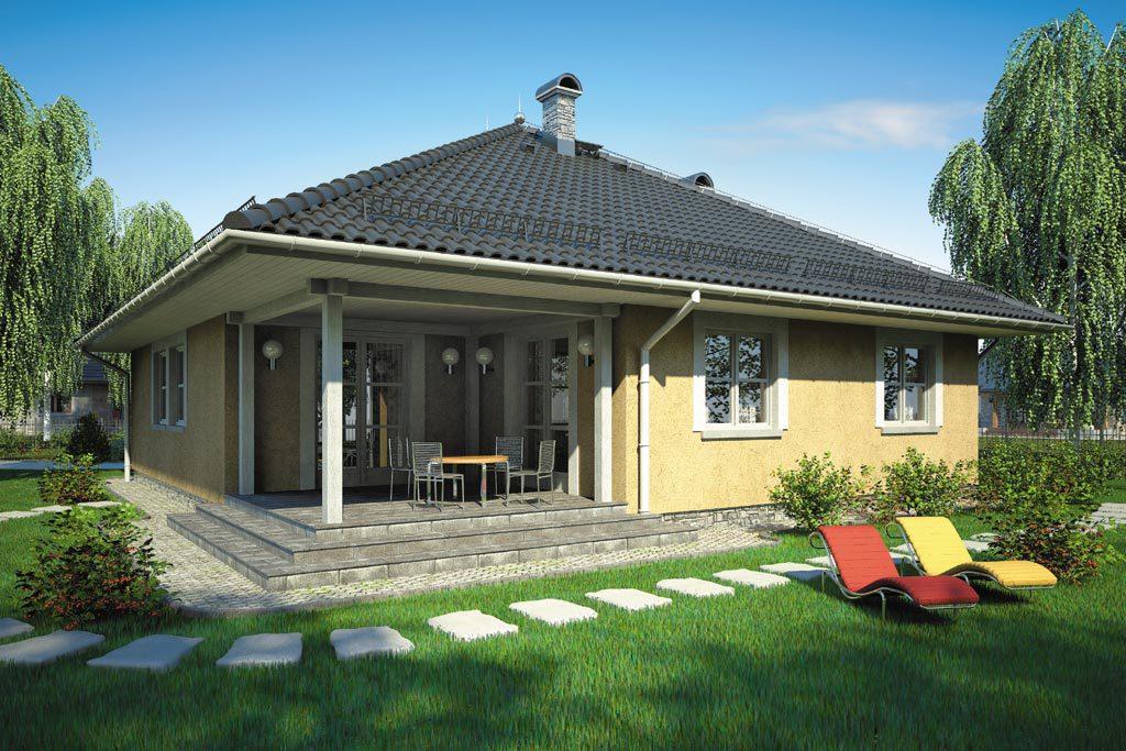 Одноэтажный дом с терассой